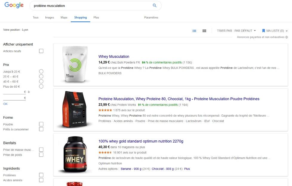 Google Shopping produit musculation