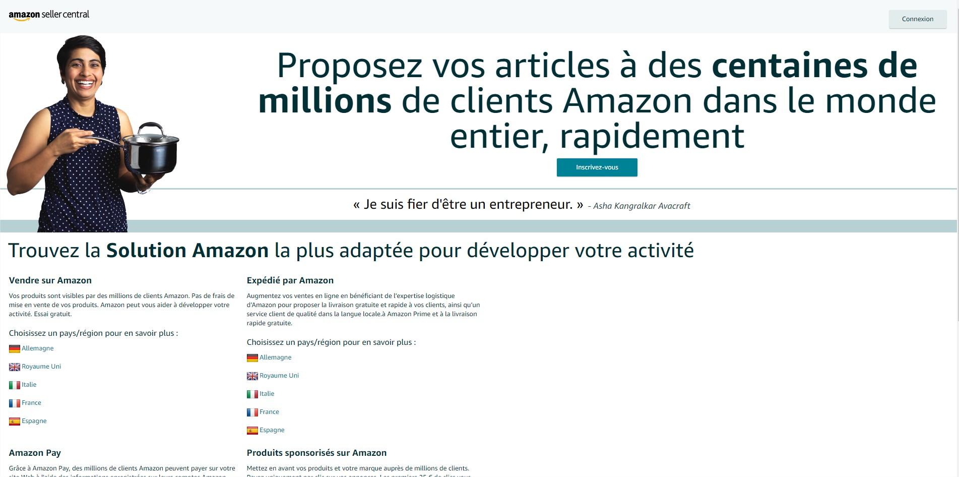Création de compte vendeur pro Amazon