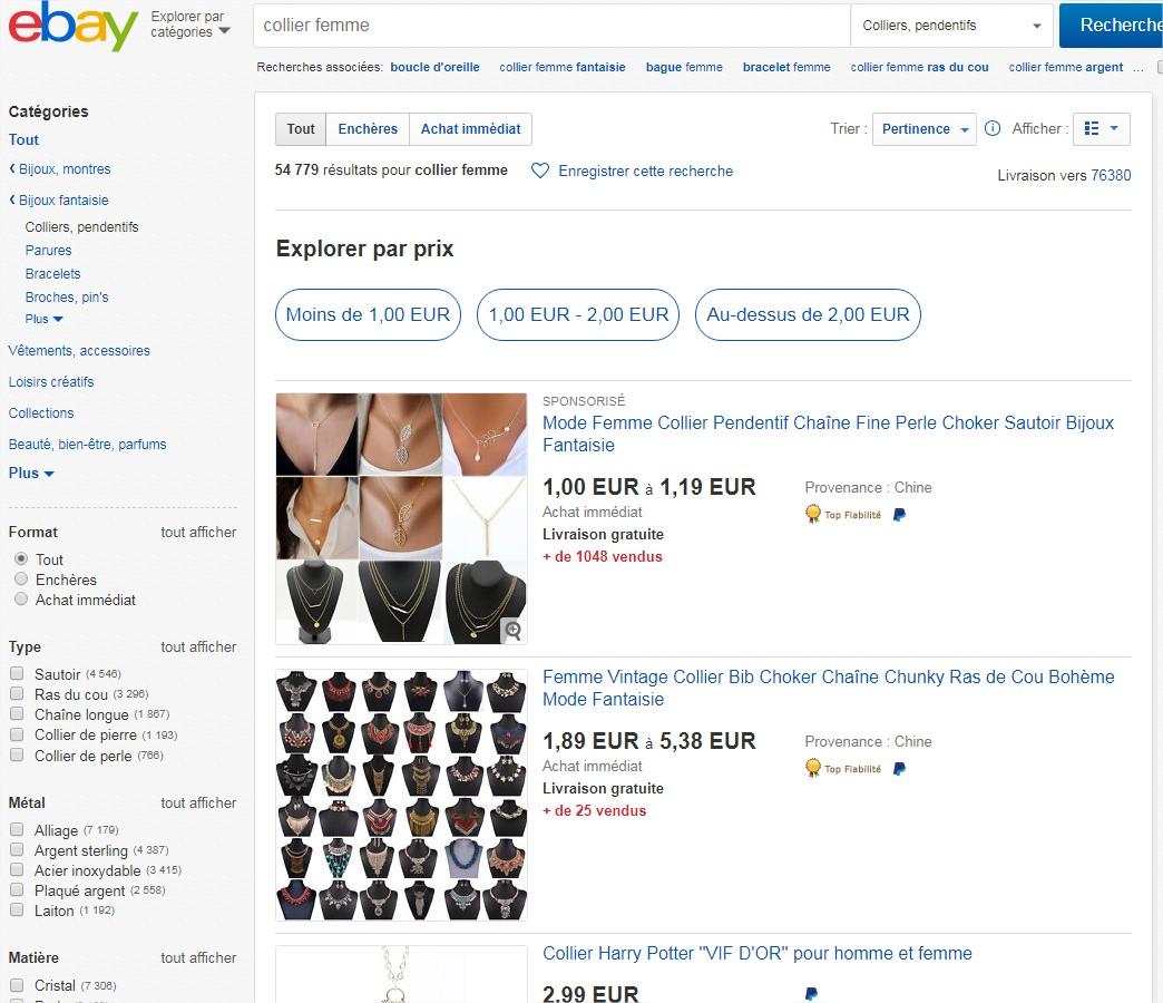 Exemple produit sur ebay - Prestashop et Dropshipping